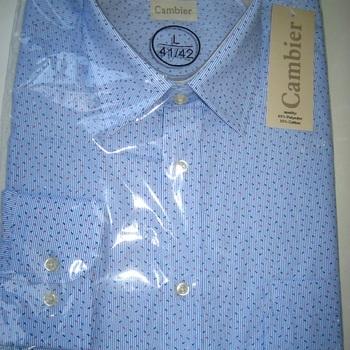chemise longues manches polyester-coton cambier avec pinces dans le dos - ciel dessin rouge + turquoise