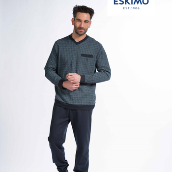 pyjama coton jersey pour homme - col V ou 3 boutons - huppert - jusque 3XL