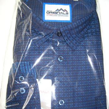 chemise longues manches pour homme - grandes tailles - marine points turquoise