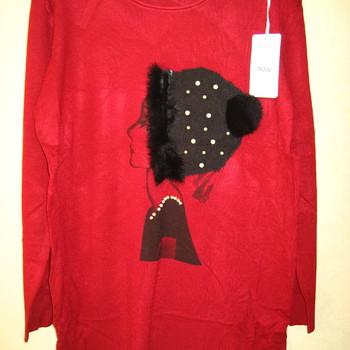 tunique tricot pour dame - visage avec bonnet + pompon en différents coloris EN PROMO