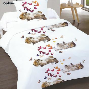 housse de couette + 1 taie en coton pour lit d'1 personne - chaton papillons