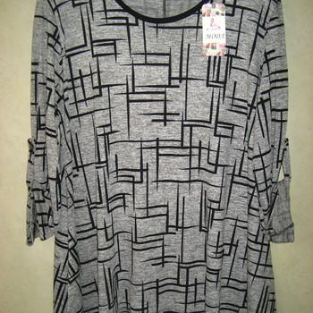 blouse évasée gris noir pour dame - grandes tailles - différents motifs