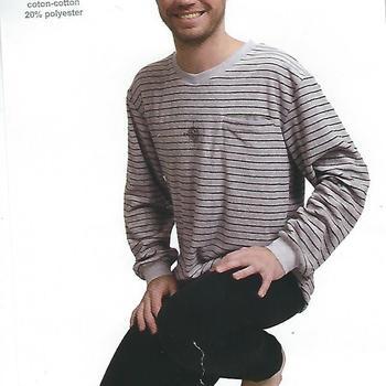 pyjama éponge (strech) pour homme - V gris clair