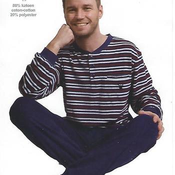pyjama éponge (strech) pour homme - 3 boutons ligné