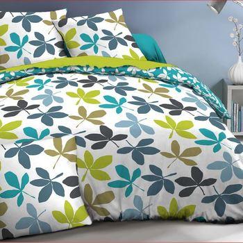 drap plat + drap housse + 1 taie 100% coton pour lit d'1 personne - feuilles
