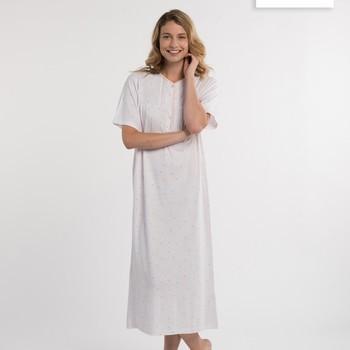 robe de nuit courtes manches pour dame - ambree - turquoise ou saumon - aussi de grandes tailles