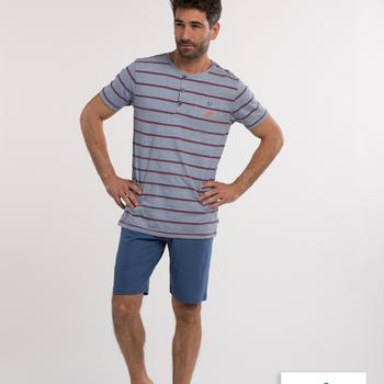 pyjashort coton pour homme - morris 3 boutons - aussi de grandes tailles