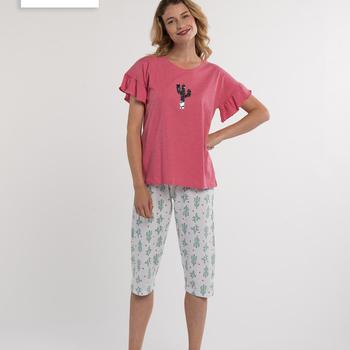 pyjama corsaire pour dame - cactus