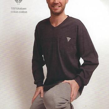 pyjama coton lourd pour homme uni bicolore - gris - reste XXL