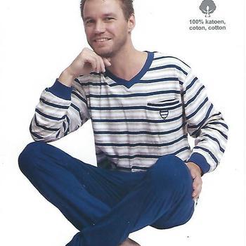 pyjama coton jersey pour homme - V ligné