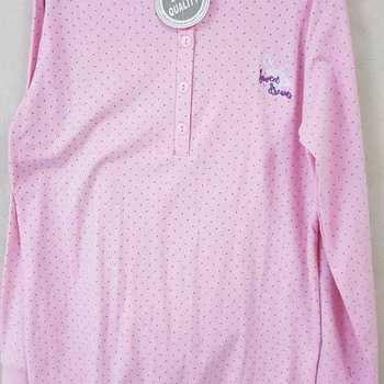 pyjama coton lourd pour dame - pois - rose - reste S