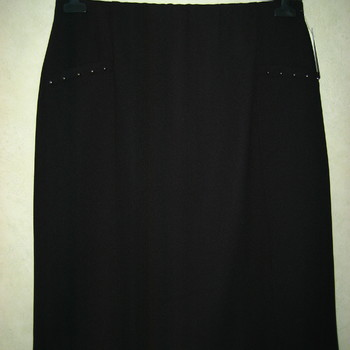 jupe droite taille élastique pour dame - lycra noir ou marine