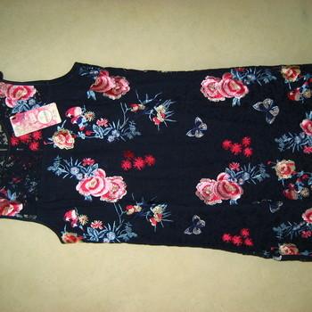 robe sans manches marine brodée fleurée pour dame T. 3 & 5