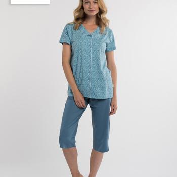 pyjama boutonné corsaire pour dame - inez - jusque 3XL