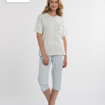 pyjama corsaire boutonné pour dame - anne-may saumon S M L XXL 3XL 4XL à partir de