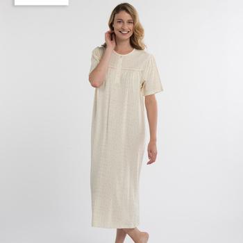 robe de nuit courtes manches pour dame - amy-lee ciel ou jaune L - 3XL - 4XL