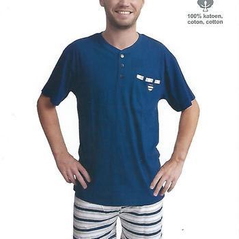 pyjashort coton pour homme - 3 boutons short ligné - marine reste L