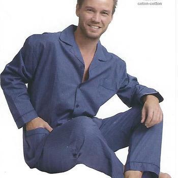 pyjama boutonné coton pour homme - boules marine - reste S & L