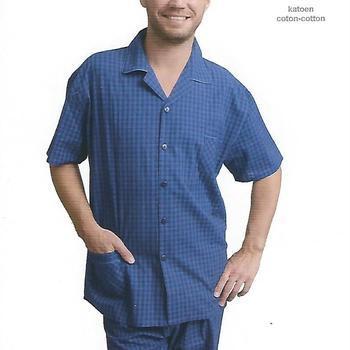 pyjashort boutonné pour homme - # angelo - S M L XL bic