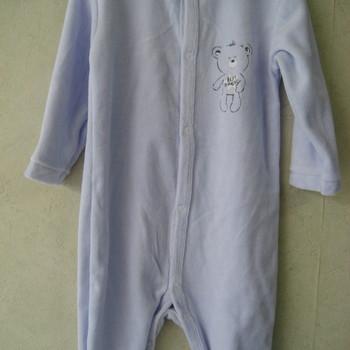 pyjama velours rasé de 3 à 24 mois - boutonné tout le long devant - avec 1 ours - différents coloris