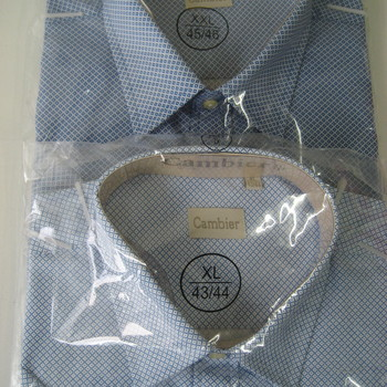 chemise courtes manches polyester-coton blanc bleu