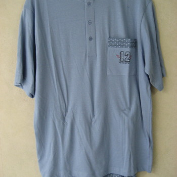 pyjashort coton pour homme - 3 boutons gris ou ciel - aussi de grandes tailles
