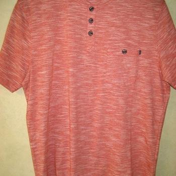 t-shirt coton chiné brique avec petits boutons pour homme