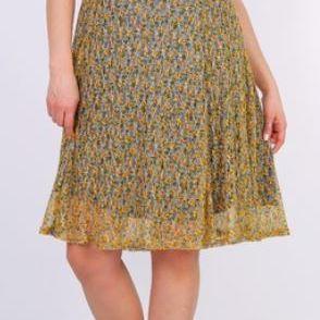 robe courtes manches avec voilage pour dame - 46/48 - jaune