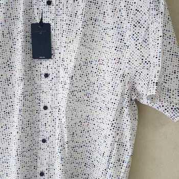 chemise courtes manches fond blanc avec pois de couleur - reste XL - XXL
