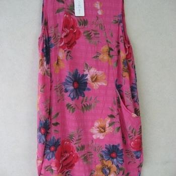 robe bain de soleil avec poches - fleurées - coton turquoise