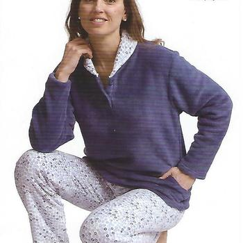 pyjama polaire fluffy (tout doux) pour dame - bicolore