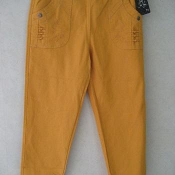 jeans taille élastique avec broderie sur poche - ocre EN PROMO
