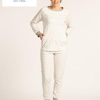 pyjama molletonné pour dame - grandes tailles - écru pois gris