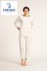 pyjama molletonné pour dame - grandes tailles - écru pois gris - reste XL