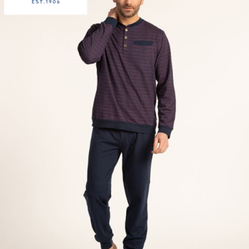 pyjama molletonné pour homme - gus - 3 boutons - aussi de grandes tailles