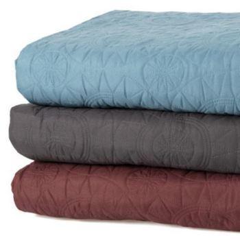 couvre-lit boutis pour lit d'1 personne - reste bordeau et bleu