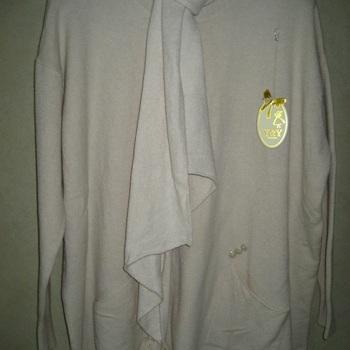 pull long et chaud avec écharpe pour dame - blanc