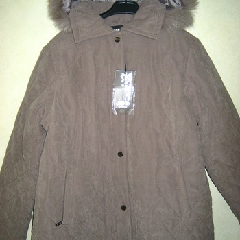 veste hiver avec capuche amovible pour dame - taupe