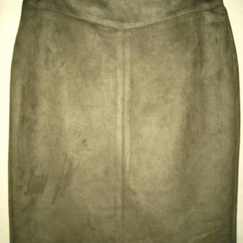 jupe droite peau pêche pour dame jusque taille 56 - kaki