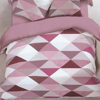 housse de couette + 1 taie en flanelle pour lit d'1 personne - triangles rose