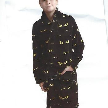 peignoir polaire fluffy avec des yeux - noir yeux jaunes - reste 10 ans - 12 ans - 14 ans