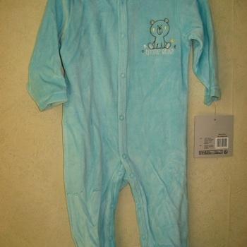pyjama velours rasé bébé ourson anis/turquoise