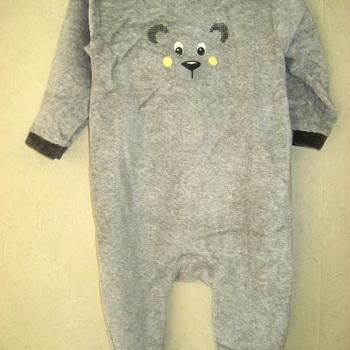 pyjama velours rasé bébé - ourson blanc/gris