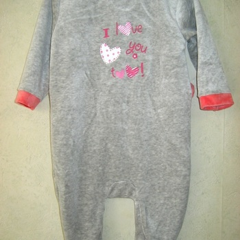 pyjama velours rasé fille - love you gris/rose