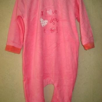 pyjama velours rasé fille - love you gris/rose jusque 24 mois