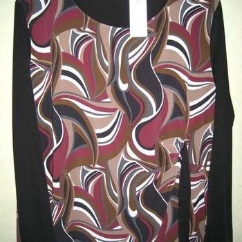 blouse longues manches 70's pour dame - noir/bordeau 46/52
