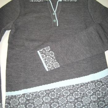 pull polo dame avec laine en taupe ou gris 38/40 42/44 46/48 - belle qualité !