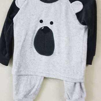 pyjama velours rasé - ours gris - reste 2 ans