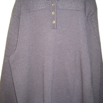 pull 3 boutons col montant jacquard marine pour homme - grandes tailles
