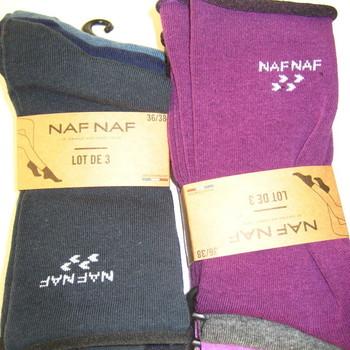 chaussettes nafnaf pour pointure 36/41 en différents coloris - 3 paires pour 5€ avec du coton